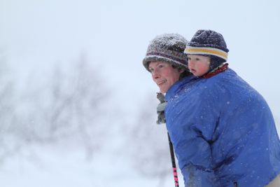 snowshoeing with mom